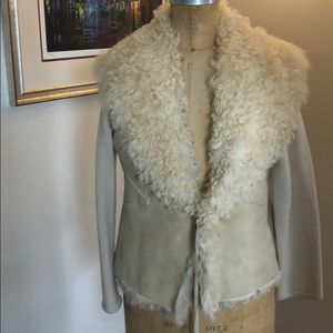 Shearling suede and knit sweater